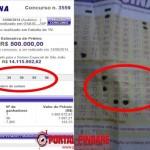 """Resultado e bilhete do apostador com as dezenas sorteadas """"14, 34, 39, 55 e 56""""."""