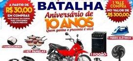 Promoção do 10º aniversário do Supermercado Batalha vai sortear uma moto 0km e vários prêmios